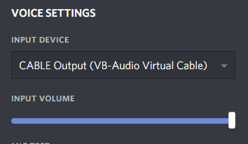 Screenshot of setting Discord's Input Device to Cable Output (VB-Audio Virtual Cable)