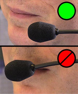 Dual image of incorrect and correct headset microphone positioning