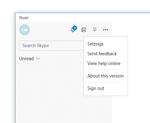 Screenshot of how to access the 'Settings' for Skype in Windows